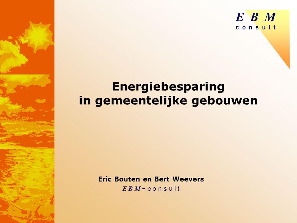 E B M c o n s u l t 2 EBM: Onderzoek en ontwikkeling Beleidsstudies voorraadanalyses energieaspecten KWR, U-bouw gezond binnenklimaat, EI / EPC / labeling.