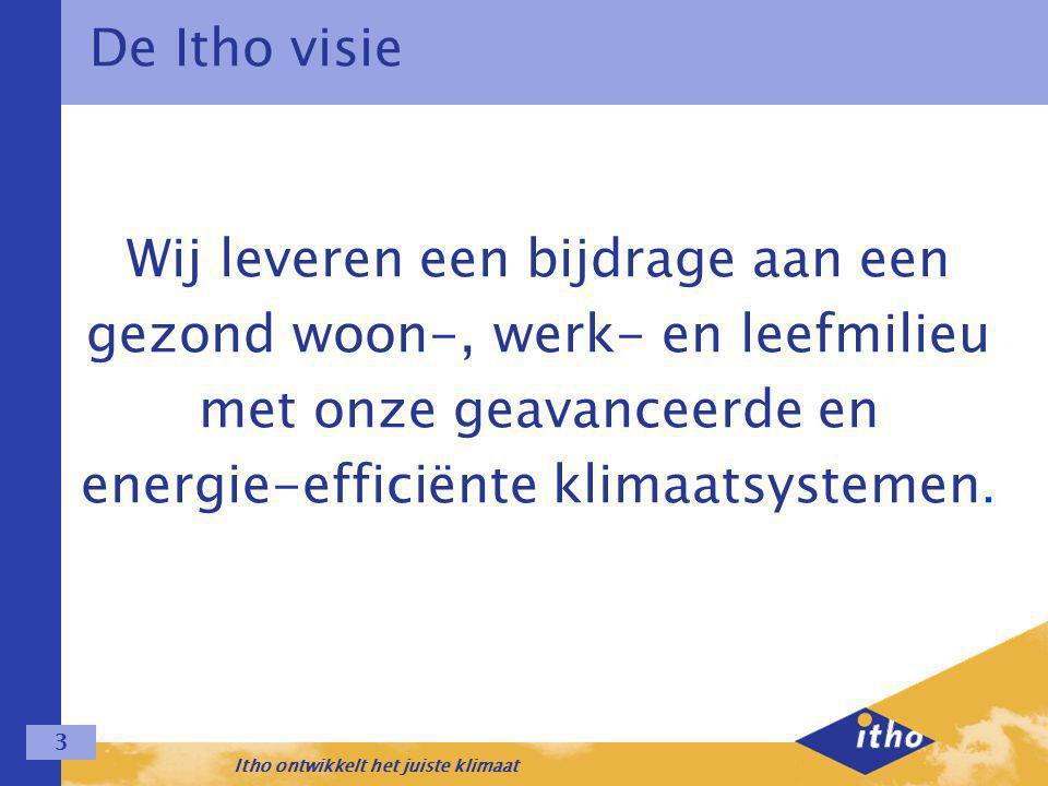 Itho ontwikkelt het juiste klimaat 3 Wij leveren een bijdrage aan een gezond woon-, werk- en leefmilieu met onze geavanceerde en energie-efficiënte klimaatsystemen.