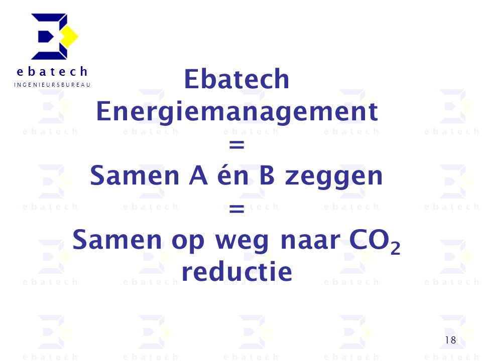 18 e b a t e c h I N G E N I E U R S B U R E A U Ebatech Energiemanagement = Samen A én B zeggen = Samen op weg naar CO 2 reductie