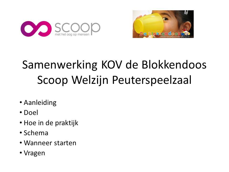 Samenwerking KOV de Blokkendoos Scoop Welzijn Peuterspeelzaal Aanleiding Doel Hoe in de praktijk Schema Wanneer starten Vragen