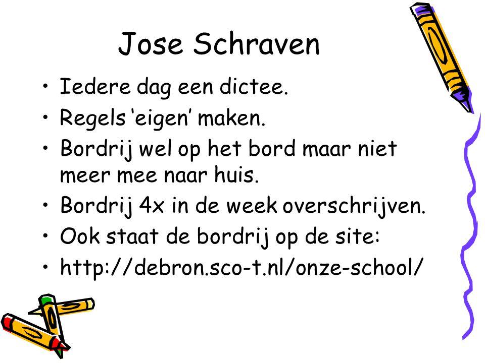 Jose Schraven Iedere dag een dictee. Regels 'eigen' maken. Bordrij wel op het bord maar niet meer mee naar huis. Bordrij 4x in de week overschrijven.