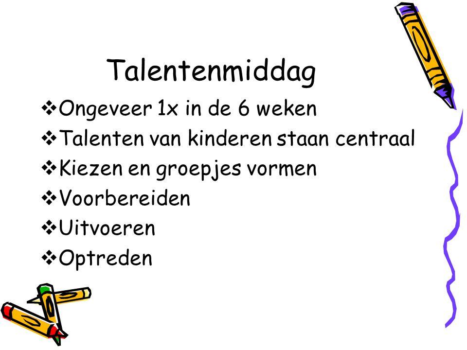 Talentenmiddag  Ongeveer 1x in de 6 weken  Talenten van kinderen staan centraal  Kiezen en groepjes vormen  Voorbereiden  Uitvoeren  Optreden
