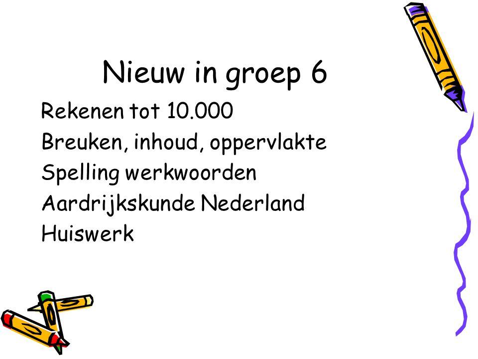 Rekenen tot 10.000 Breuken, inhoud, oppervlakte Spelling werkwoorden Aardrijkskunde Nederland Huiswerk Nieuw in groep 6