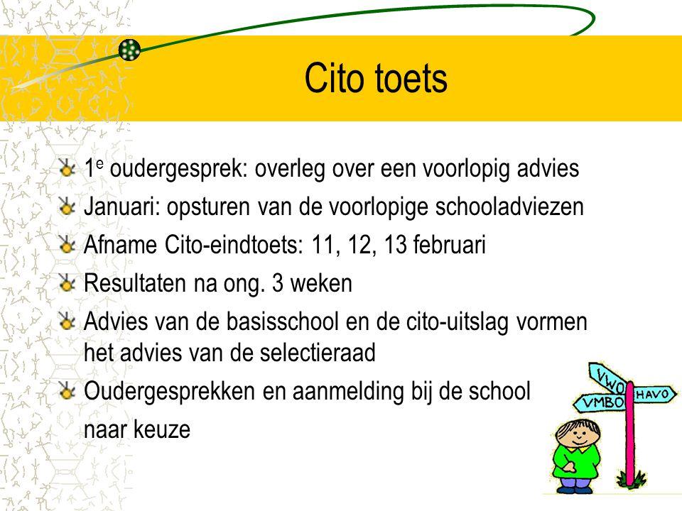 Cito toets 1 e oudergesprek: overleg over een voorlopig advies Januari: opsturen van de voorlopige schooladviezen Afname Cito-eindtoets: 11, 12, 13 fe