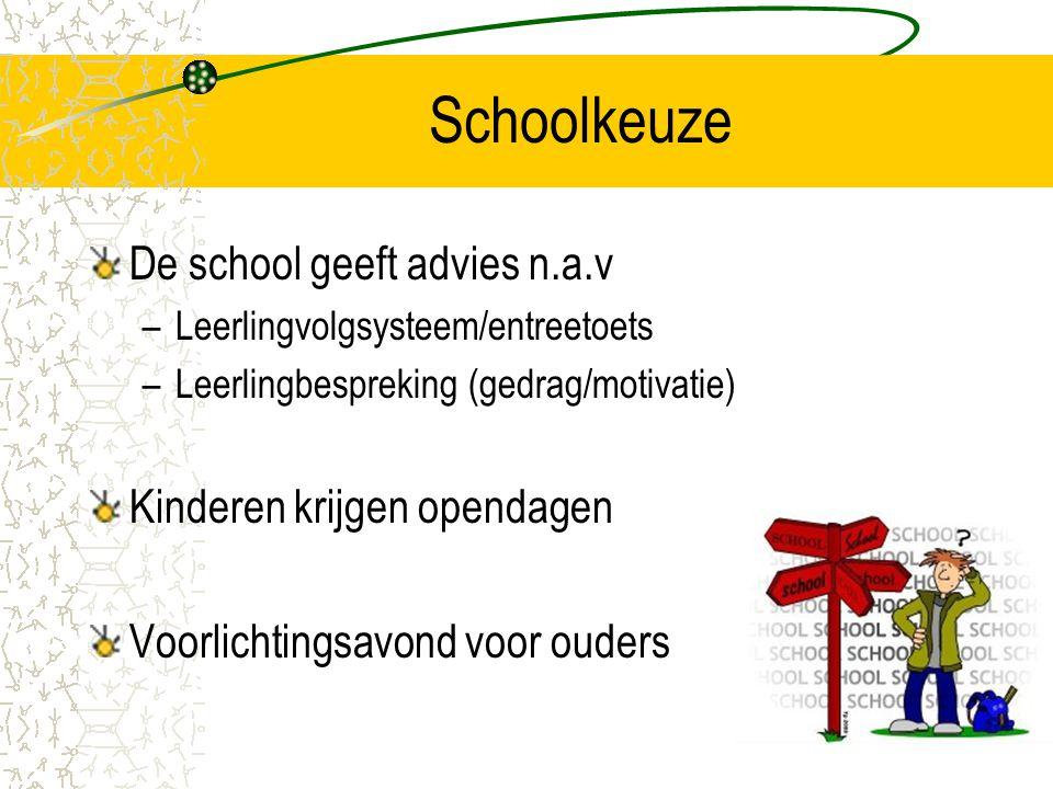 Schoolkeuze De school geeft advies n.a.v –Leerlingvolgsysteem/entreetoets –Leerlingbespreking (gedrag/motivatie) Kinderen krijgen opendagen Voorlichti