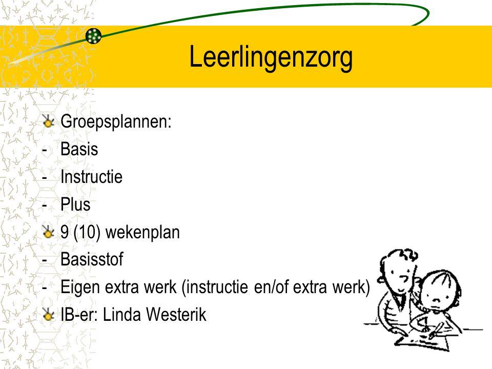 Leerlingenzorg Groepsplannen: -Basis -Instructie -Plus 9 (10) wekenplan -Basisstof -Eigen extra werk (instructie en/of extra werk) IB-er: Linda Wester