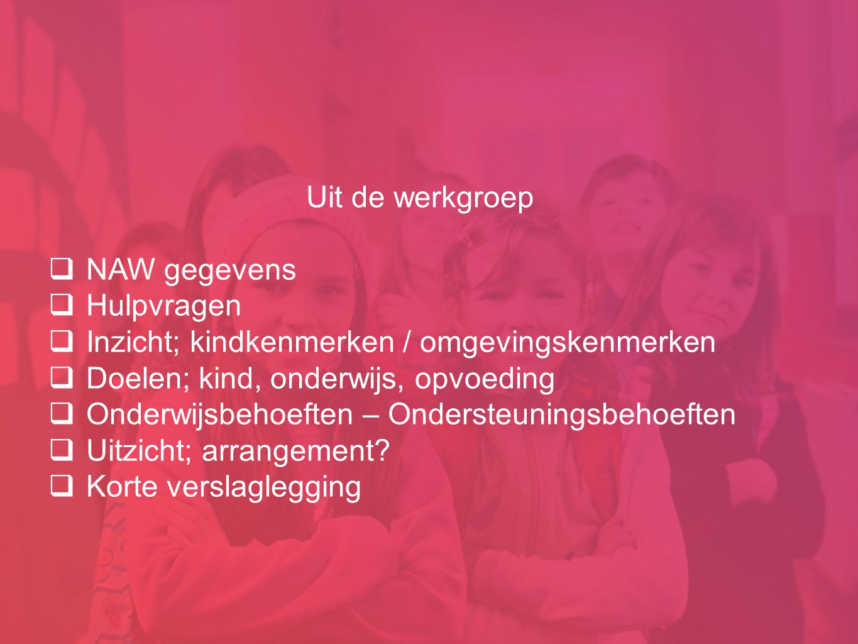 Uit de werkgroep  NAW gegevens  Hulpvragen  Inzicht; kindkenmerken / omgevingskenmerken  Doelen; kind, onderwijs, opvoeding  Onderwijsbehoeften –