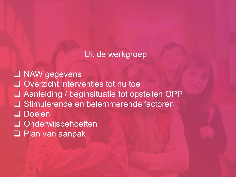 Uit de werkgroep  NAW gegevens  Overzicht interventies tot nu toe  Aanleiding / beginsituatie tot opstellen OPP  Stimulerende en belemmerende fact