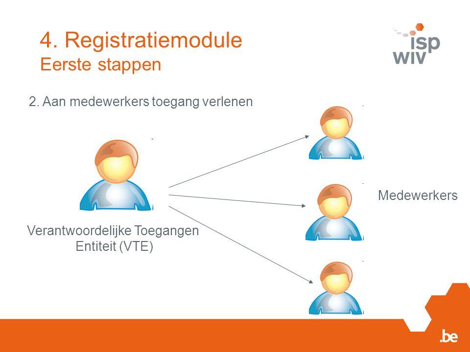 2. Aan medewerkers toegang verlenen Verantwoordelijke Toegangen Entiteit (VTE) Medewerkers 4. Registratiemodule Eerste stappen