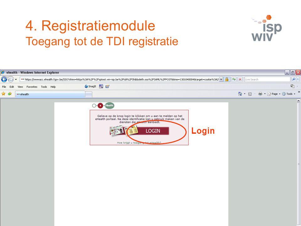 Login 4. Registratiemodule Toegang tot de TDI registratie