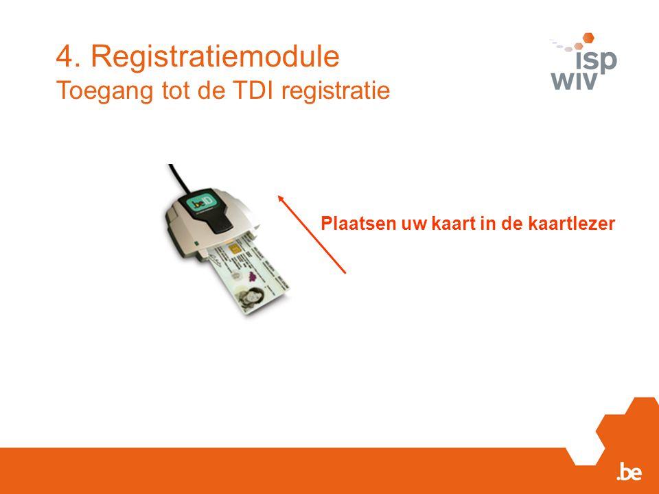 Plaatsen uw kaart in de kaartlezer 4. Registratiemodule Toegang tot de TDI registratie