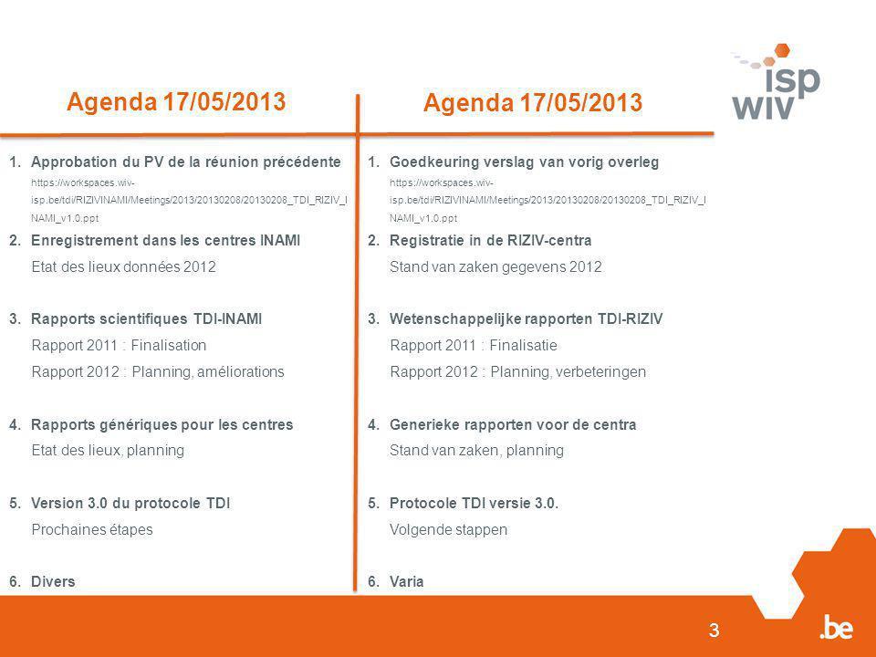 3 Agenda 17/05/2013 1.Approbation du PV de la réunion précédente https://workspaces.wiv- isp.be/tdi/RIZIVINAMI/Meetings/2013/20130208/20130208_TDI_RIZ