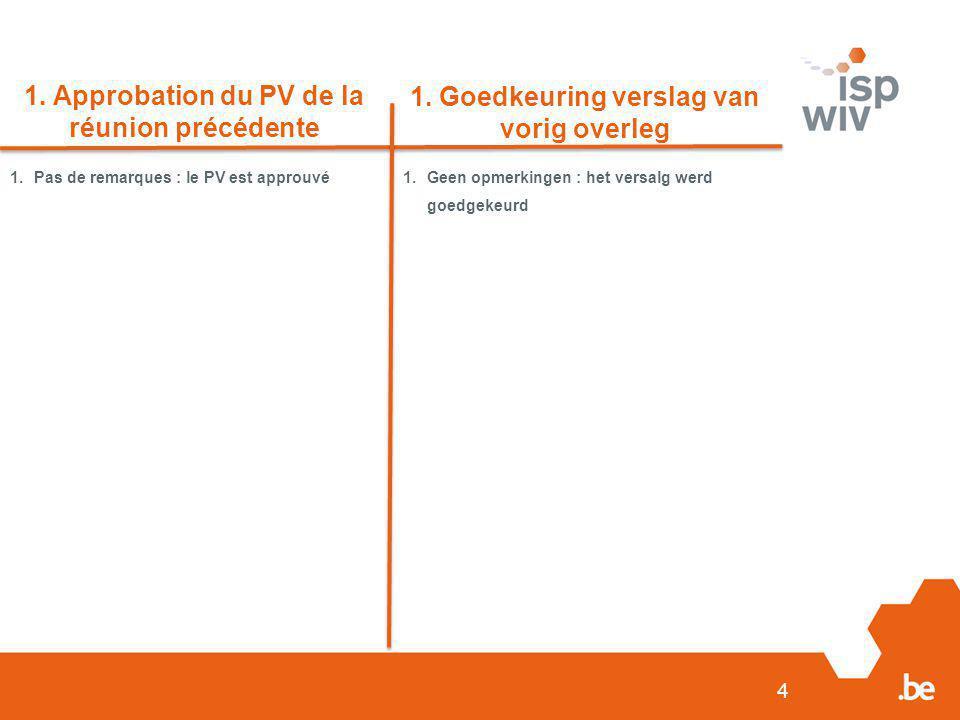 4 1. Approbation du PV de la réunion précédente 1. Goedkeuring verslag van vorig overleg 1.Pas de remarques : le PV est approuvé1.Geen opmerkingen : h