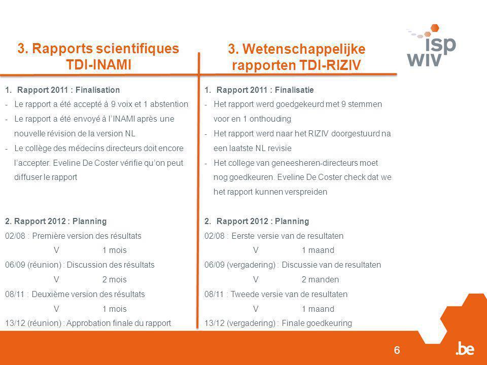 6 3. Rapports scientifiques TDI-INAMI 3. Wetenschappelijke rapporten TDI-RIZIV 1.Rapport 2011 : Finalisation -Le rapport a été accepté à 9 voix et 1 a