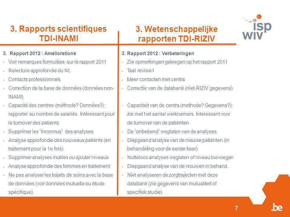 7 3. Rapports scientifiques TDI-INAMI 3. Wetenschappelijke rapporten TDI-RIZIV 3. Rapport 2012 : Améliorations -Voir remarques formulées sur le rappor