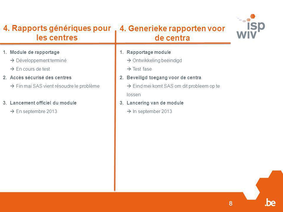 8 4. Rapports génériques pour les centres 4. Generieke rapporten voor de centra 1.Module de rapportage  Développement terminé  En cours de test 2.Ac