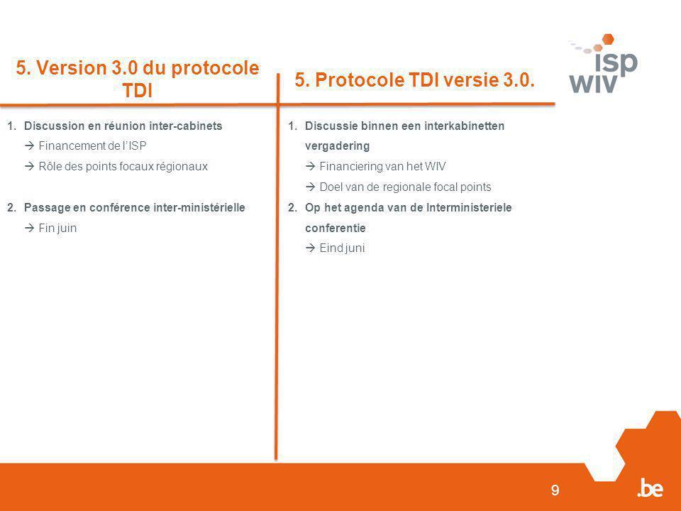 9 5. Version 3.0 du protocole TDI 5. Protocole TDI versie 3.0. 1.Discussion en réunion inter-cabinets  Financement de l'ISP  Rôle des points focaux