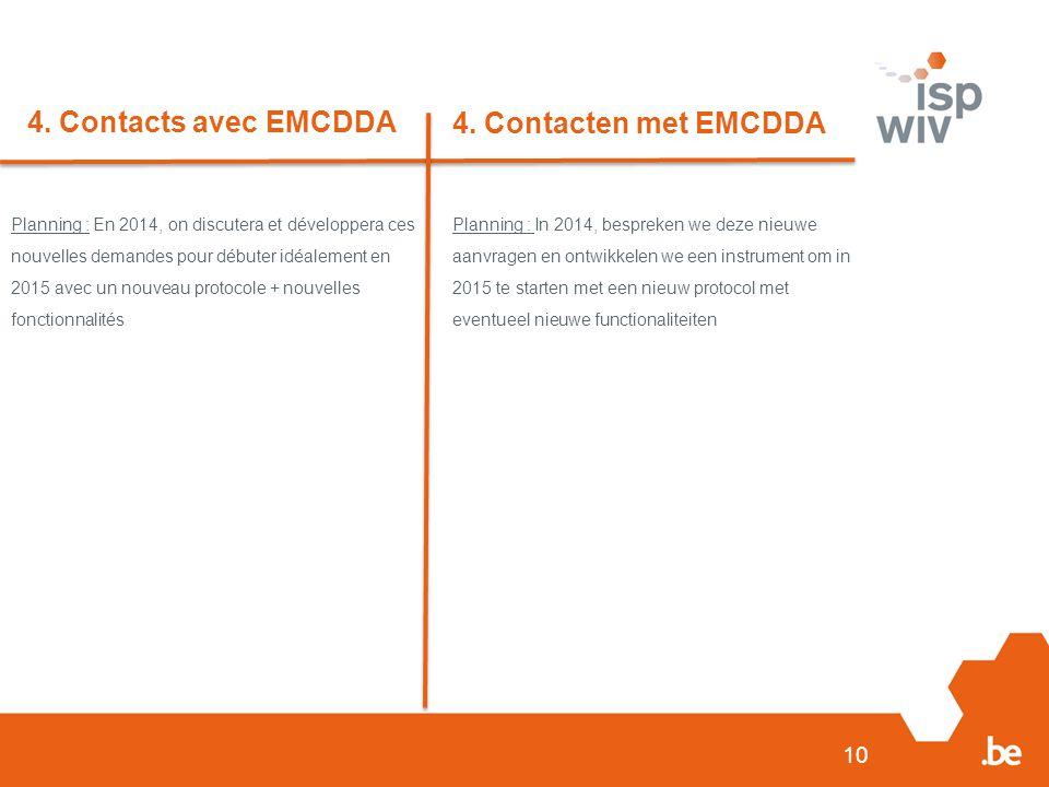 10 4. Contacts avec EMCDDA 4. Contacten met EMCDDA Planning : En 2014, on discutera et développera ces nouvelles demandes pour débuter idéalement en 2