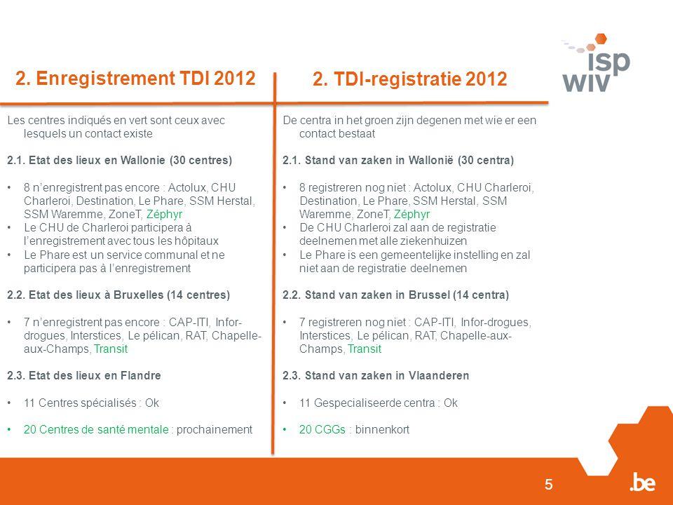 5 2. Enregistrement TDI 2012 2. TDI-registratie 2012 Les centres indiqués en vert sont ceux avec lesquels un contact existe 2.1. Etat des lieux en Wal