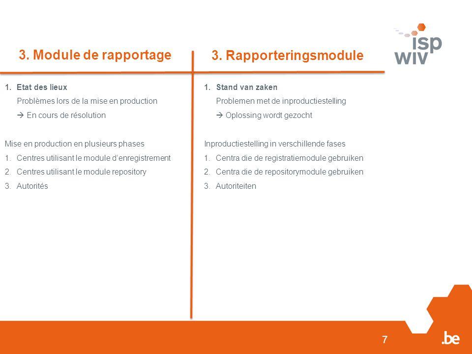 7 3. Module de rapportage 3. Rapporteringsmodule 1.Etat des lieux Problèmes lors de la mise en production  En cours de résolution Mise en production