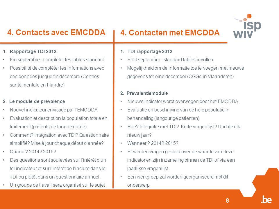8 4. Contacts avec EMCDDA 4. Contacten met EMCDDA 1.Rapportage TDI 2012 Fin septembre : compléter les tables standard Possibilité de compléter les inf