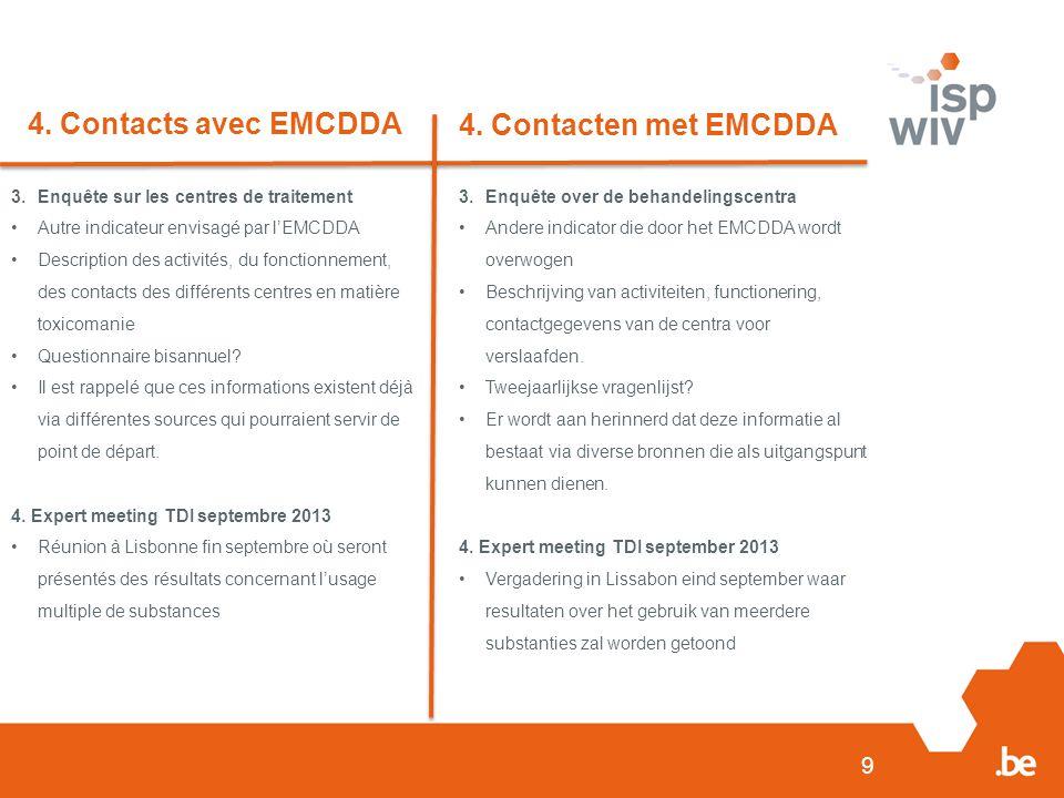 9 4. Contacts avec EMCDDA 4. Contacten met EMCDDA 3.Enquête sur les centres de traitement Autre indicateur envisagé par l'EMCDDA Description des activ