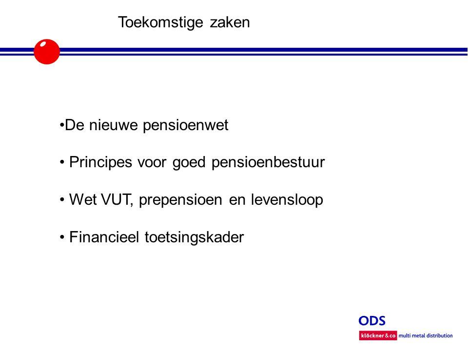 Toekomstige zaken De nieuwe pensioenwet Principes voor goed pensioenbestuur Wet VUT, prepensioen en levensloop Financieel toetsingskader