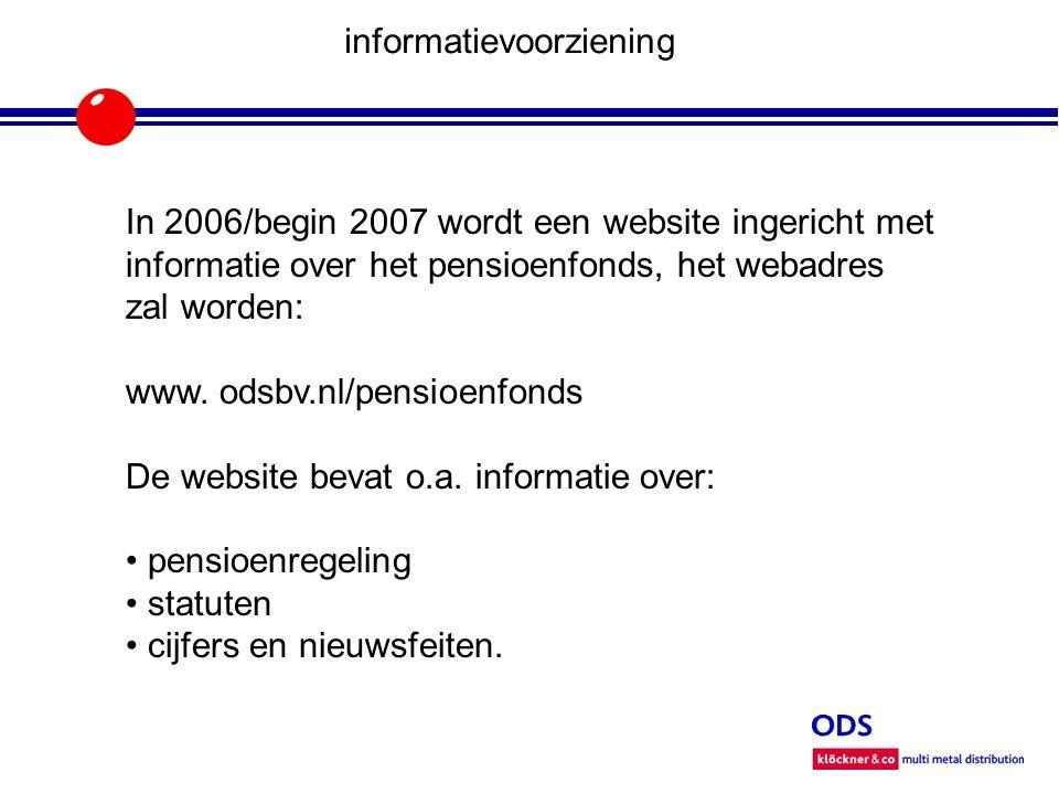 informatievoorziening In 2006/begin 2007 wordt een website ingericht met informatie over het pensioenfonds, het webadres zal worden: www.