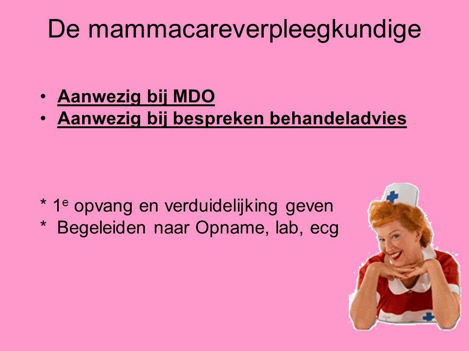 De mammacareverpleegkundige Aanwezig bij MDO Aanwezig bij bespreken behandeladvies * 1 e opvang en verduidelijking geven * Begeleiden naar Opname, lab
