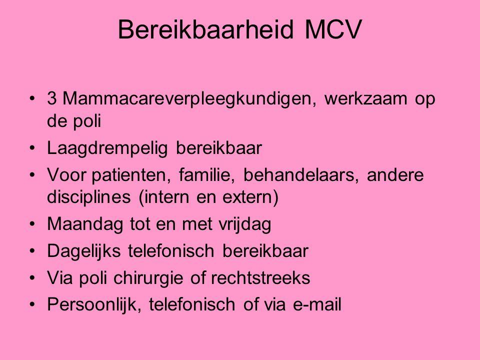 Bereikbaarheid MCV 3 Mammacareverpleegkundigen, werkzaam op de poli Laagdrempelig bereikbaar Voor patienten, familie, behandelaars, andere disciplines