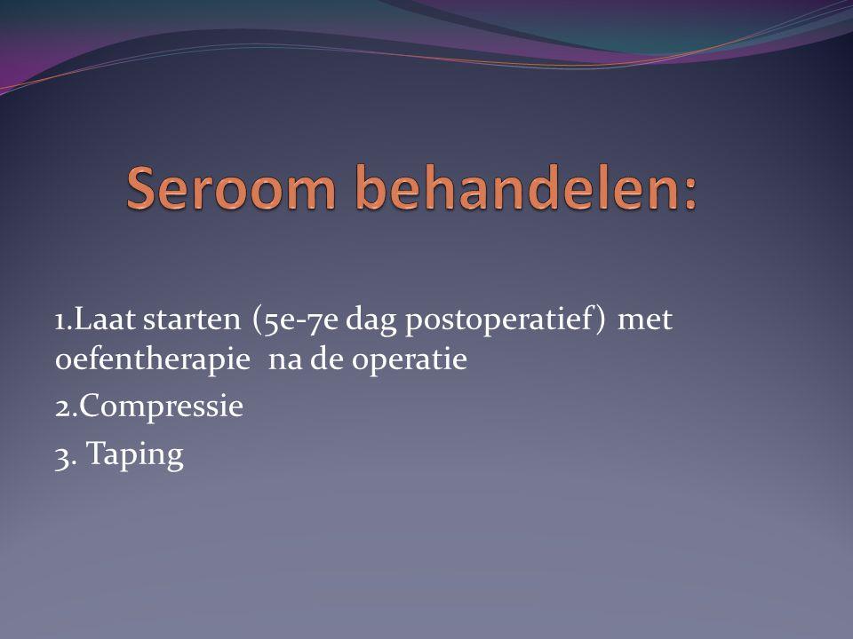 1.Laat starten (5e-7e dag postoperatief) met oefentherapie na de operatie 2.Compressie 3. Taping