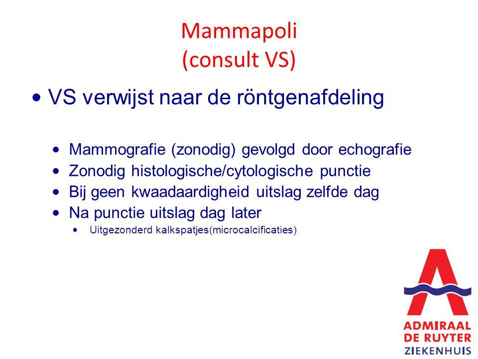 Mammapoli (consult VS) VS verwijst naar de röntgenafdeling Mammografie (zonodig) gevolgd door echografie Zonodig histologische/cytologische punctie Bij geen kwaadaardigheid uitslag zelfde dag Na punctie uitslag dag later Uitgezonderd kalkspatjes(microcalcificaties)