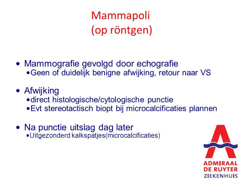 Mammapoli (op röntgen) Mammografie gevolgd door echografie Geen of duidelijk benigne afwijking, retour naar VS Afwijking direct histologische/cytologische punctie Evt stereotactisch biopt bij microcalcificaties plannen Na punctie uitslag dag later Uitgezonderd kalkspatjes(microcalcificaties)