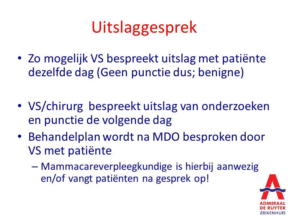 Uitslaggesprek Zo mogelijk VS bespreekt uitslag met patiënte dezelfde dag (Geen punctie dus; benigne) VS/chirurg bespreekt uitslag van onderzoeken en