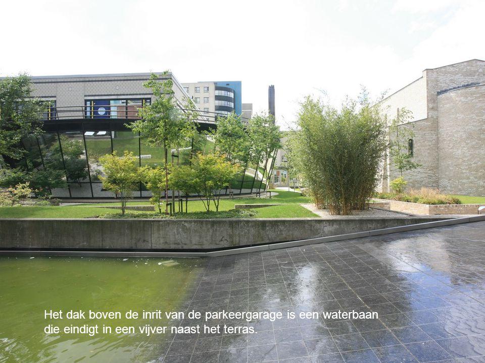 Het dak boven de inrit van de parkeergarage is een waterbaan die eindigt in een vijver naast het terras.