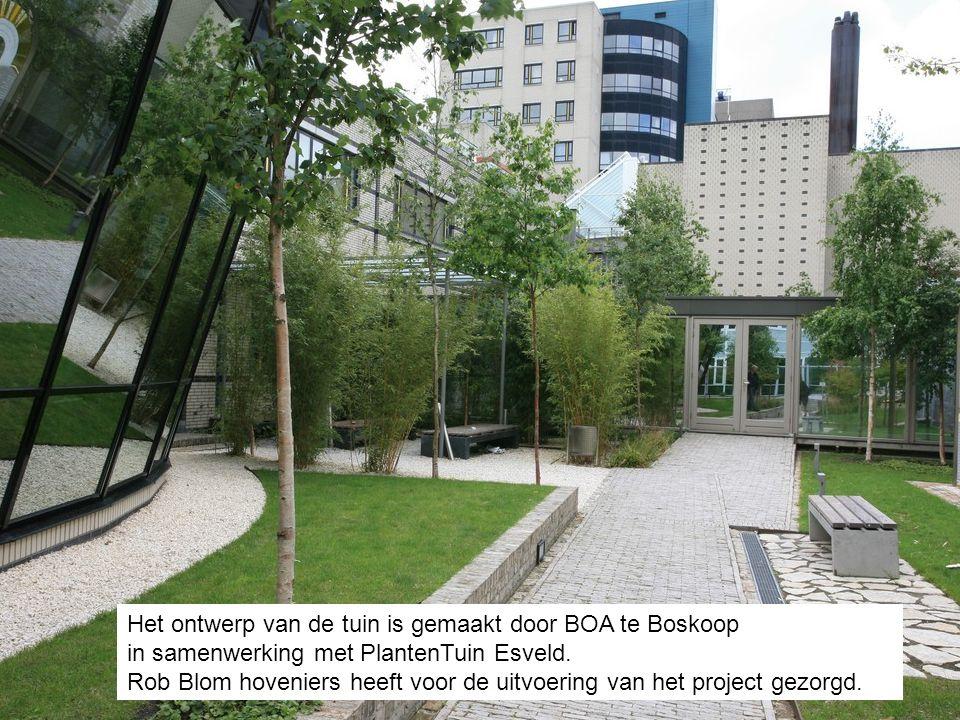 Het ontwerp van de tuin is gemaakt door BOA te Boskoop in samenwerking met PlantenTuin Esveld. Rob Blom hoveniers heeft voor de uitvoering van het pro