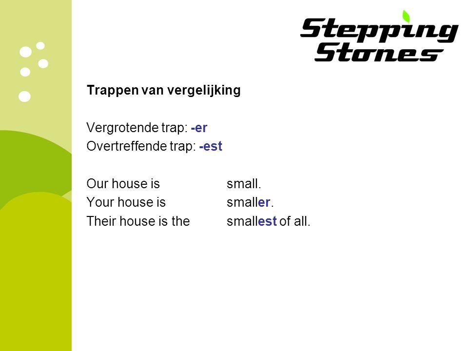 Trappen van vergelijking Vergrotende trap: -er Overtreffende trap: -est Our house is small.