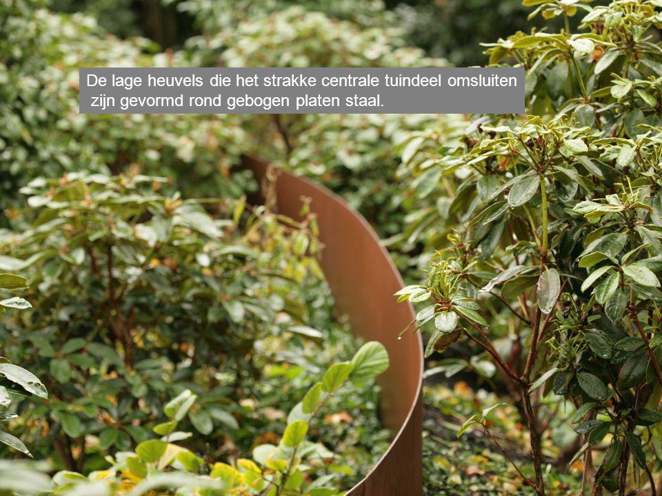 De lage heuvels die het strakke centrale tuindeel omsluiten zijn gevormd rond gebogen platen staal.