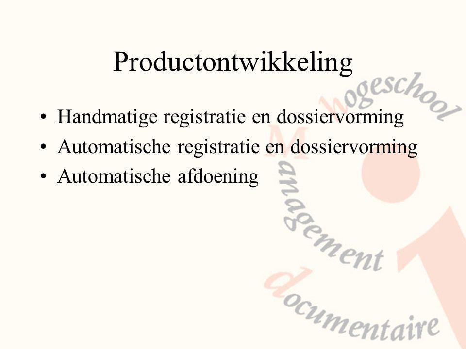Productontwikkeling Handmatige registratie en dossiervorming Automatische registratie en dossiervorming Automatische afdoening