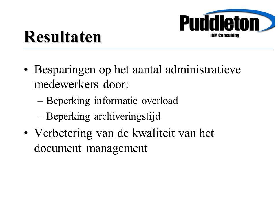 Besparingen op het aantal administratieve medewerkers door: –Beperking informatie overload –Beperking archiveringstijd Verbetering van de kwaliteit van het document management Resultaten