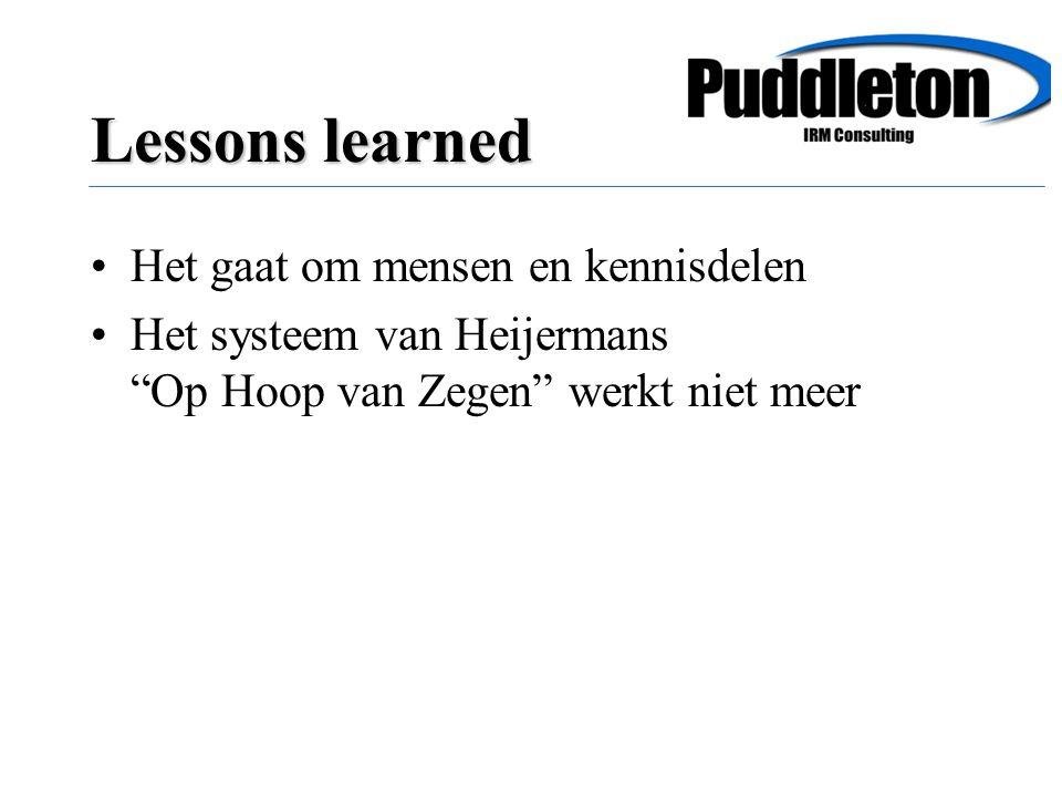 Het gaat om mensen en kennisdelen Het systeem van Heijermans Op Hoop van Zegen werkt niet meer Lessons learned