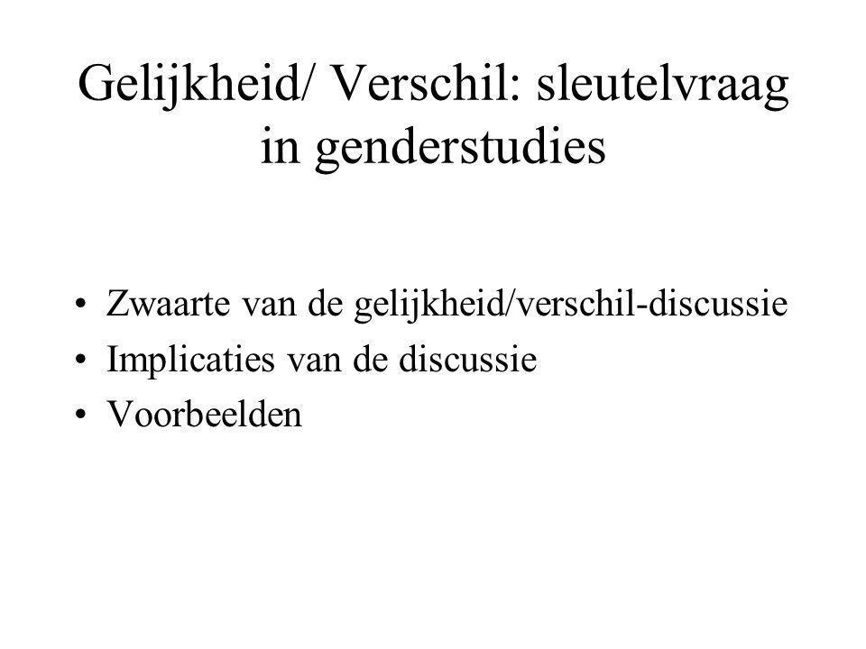 Gelijkheid/ Verschil: sleutelvraag in genderstudies Zwaarte van de gelijkheid/verschil-discussie Implicaties van de discussie Voorbeelden