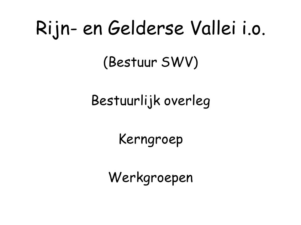 Rijn- en Gelderse Vallei i.o. (Bestuur SWV) Bestuurlijk overleg Kerngroep Werkgroepen