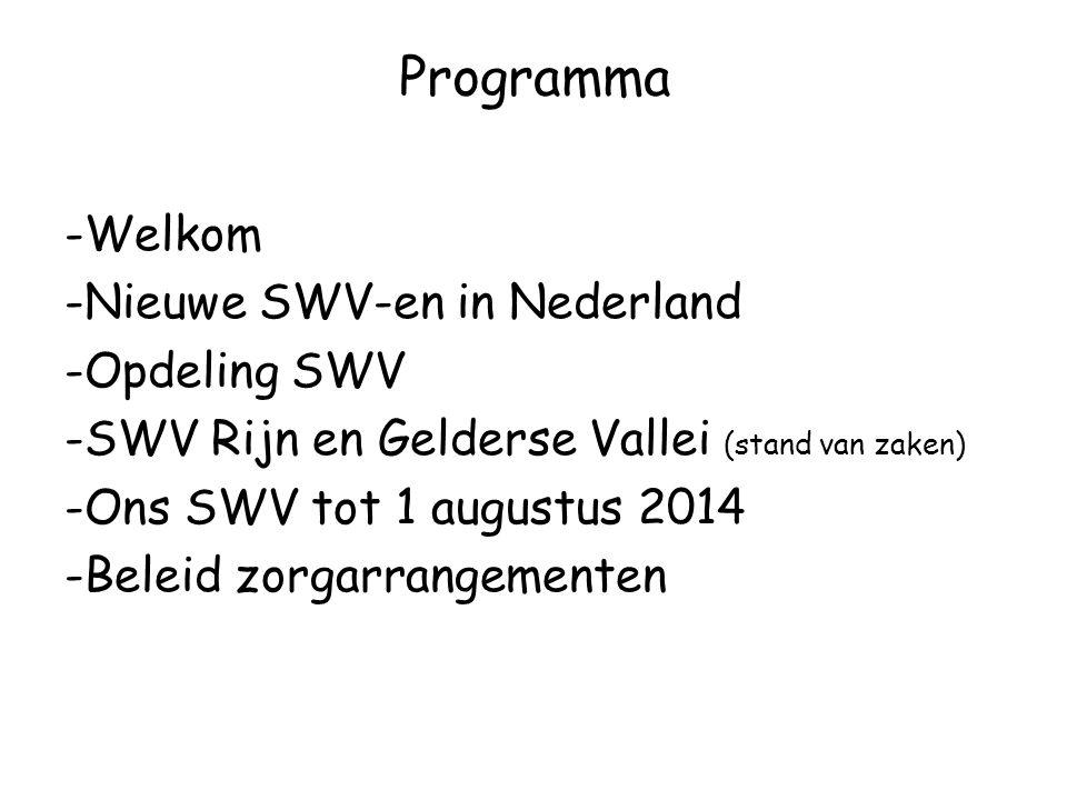 Programma -Welkom -Nieuwe SWV-en in Nederland -Opdeling SWV -SWV Rijn en Gelderse Vallei (stand van zaken) -Ons SWV tot 1 augustus 2014 -Beleid zorgarrangementen