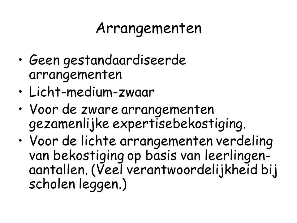 Arrangementen Geen gestandaardiseerde arrangementen Licht-medium-zwaar Voor de zware arrangementen gezamenlijke expertisebekostiging.