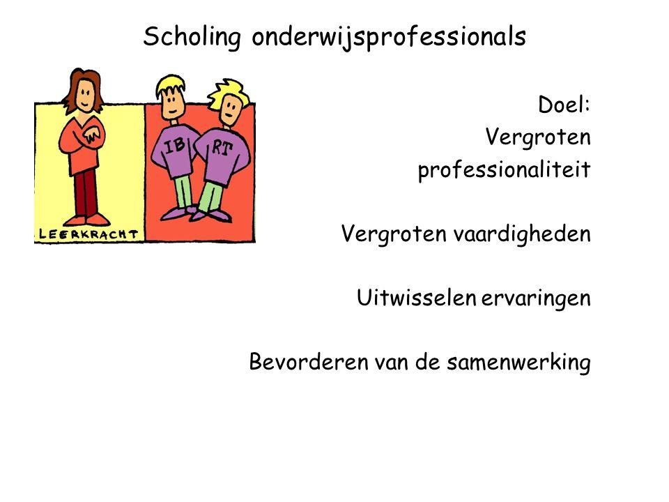 Scholing onderwijsprofessionals Doel: Vergroten professionaliteit Vergroten vaardigheden Uitwisselen ervaringen Bevorderen van de samenwerking