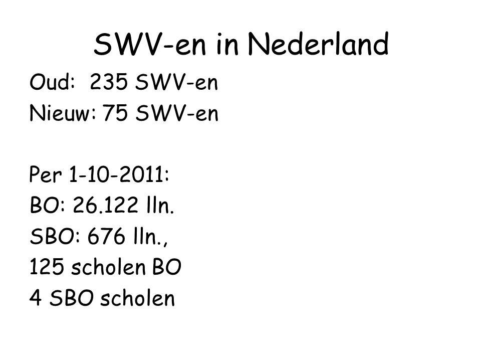 SWV-en in Nederland Oud: 235 SWV-en Nieuw: 75 SWV-en Per 1-10-2011: BO: 26.122 lln.