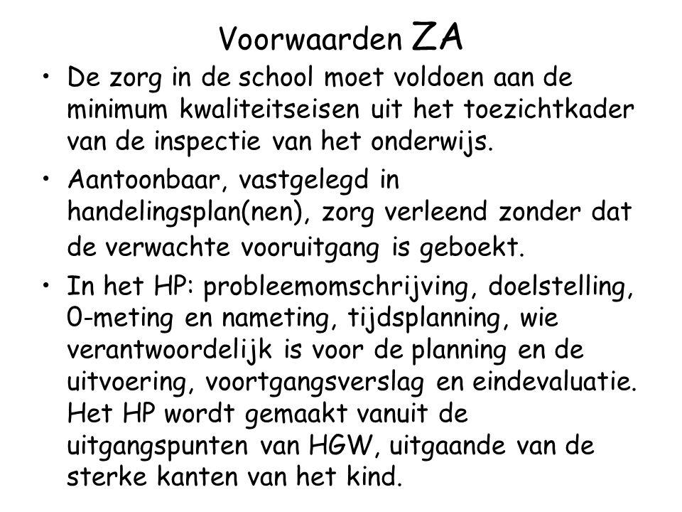 Voorwaarden ZA De zorg in de school moet voldoen aan de minimum kwaliteitseisen uit het toezichtkader van de inspectie van het onderwijs.