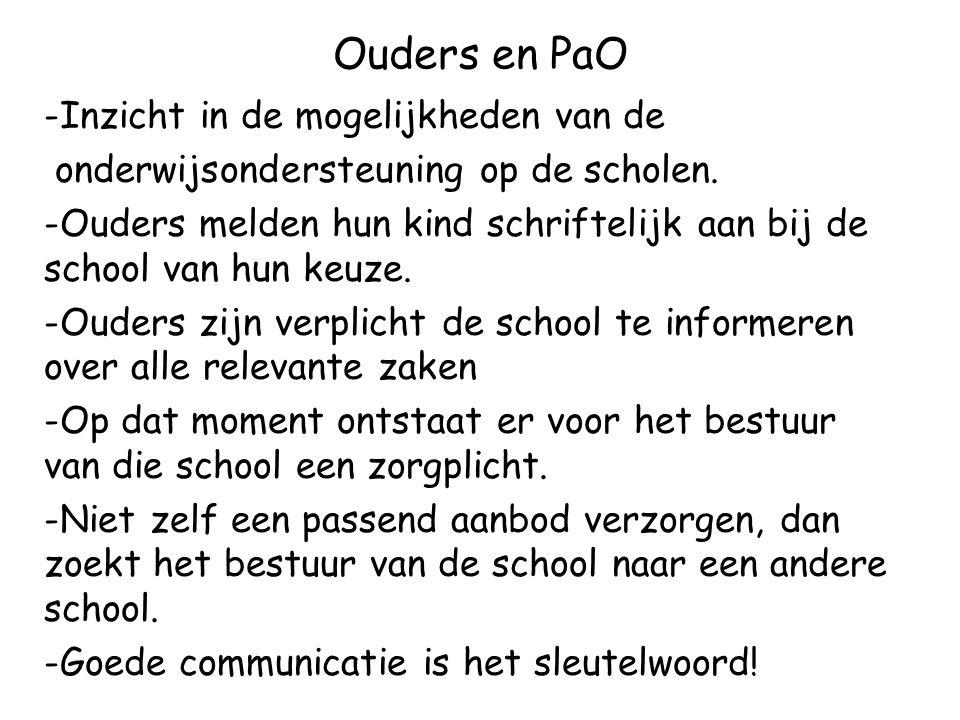 Ouders en PaO -Inzicht in de mogelijkheden van de onderwijsondersteuning op de scholen.