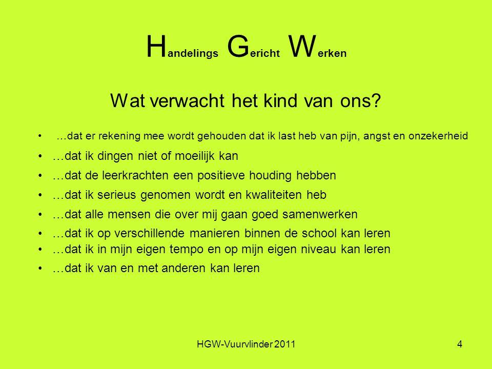 HGW-Vuurvlinder 20114 H andelings G ericht W erken Wat verwacht het kind van ons.